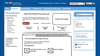 BMO MasterCard Features Wireframe