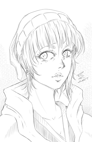 Girl with Bangs Sketch