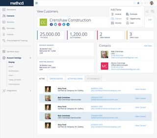 Method:CRM - Contacts Dashboard - Global Add