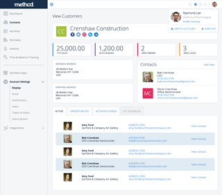 Method:CRM - Contacts Dashboard - Profile Card