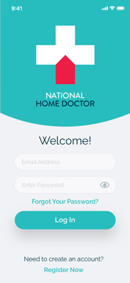 NHD - Patients App - Log In Screen