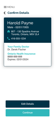 NHD - Patients App - Confirm Details